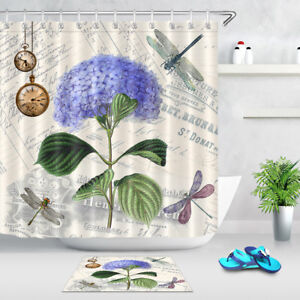 Vintage Flowers Clock Dragonfly Shower Curtain Bathroom Mat Waterproof Fabric