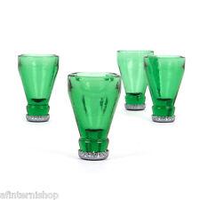 BA- n. 4 bicchieri bicchierini liquore amaro a forma bottiglia verde tappo
