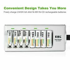 8 Bay AA AAA Smart Rechargeable Battery Charger Dock Ni-MH Ni-CD Safe Reliable