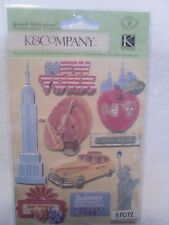 K & Company 9 pc  Dimensional Stickers - HAPPY TRAILS NEW YORK