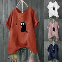 Women Loose Cat Printed Plus Size Casual Beach Vintage O-Neck Blouse Shirt Tops