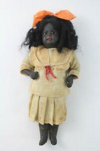"""vintage antique german 8"""" Bisque Girl doll ivory sailor dress black native OLD"""
