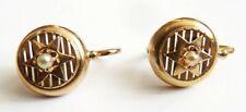 Boucles d'oreille dormeuses en OR massif + perle 19e siècle gold earrings étoile