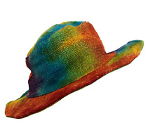 Unisex Eco Hemp Cotton Wire Rim Festival Hippie Rainbow Tie Dye Sun Beach Hat