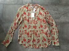 NWT Isabel Marant Sz 36 Floral Silk Chiffon Blouse Long Sleeve Red Brown Top