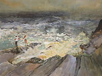 Original watercolor painting of Couple on Rugged Sea Shore in Maine