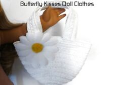 White Daisy Straw Beach Bag Purse 18 in Doll Clothes Accessory Fit American Girl