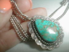 VINTAGE NAVAJO STERLING SILVER TURQUOISE PEDANT with chain of 925 NO RESERVES