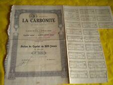 Vintage share certificate Stock Bonds Action La Carbonite 1925