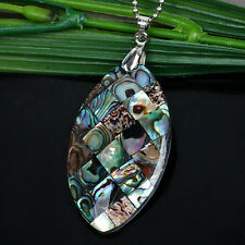 1x Natural Abalone MOP Horse Eye Oval Bead Charm Pendant For Necklace Women Girl