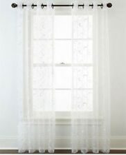 "*Royal Velvet Plaza Embroidered Sheer Grommet-Top Curtain 50""W x 84""L White NEW"