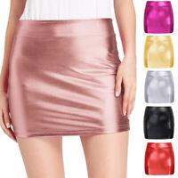 Women Sexy Wet Look Bodycon Short Mini Skirt Evening Party Clubwear Plus Size