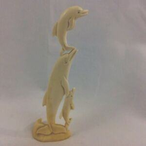 Dolphin With Her Babies Hand Carved From Solid CamelBone With Excellent Details