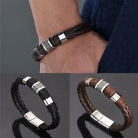 1pcs Women Men Braided Leather Steel Magnetic Clasp Bracelet Handmade Jewelry