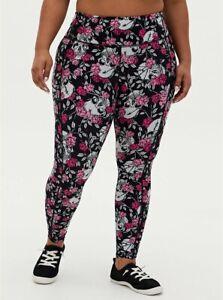 Torrid Active Wicking Black Pink Floral Skull Leggings Pockets NWT New 4X