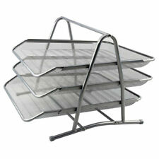 Mesh Letter Filing Trays Stackable A4 Desk Tidy Paper Document 3 Tier Silver