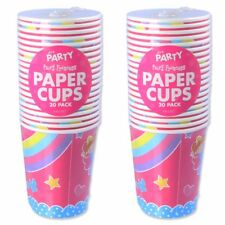 40x GIRLS PINK PAPER CUPS Fairy Castle Princess Birthday Party Kids Tableware