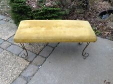 VINTAGE BRASS HOLLYWOOD REGENCY VANITY BENCH STOOL VELVET SEAT