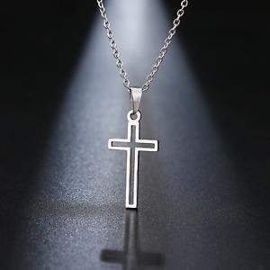 Halskette Kreuz Jesus Rosenkranz Damen Herren Edelstahl Silber Gold Geschenk