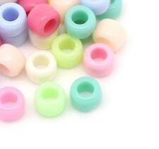100 Pony Beads Pastel Acrylic 8mm X 6mm Large Hole 4.4mm Childrens Beads J28562v