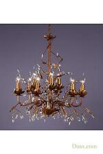 DUSX Floral Antique Gold & Clear Crystal Large 9 Arm Chandelier Ceiling Light