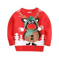 Winter Toddler Kids Baby Boy Girl Sweater Christmas Cartoon Deer Print Knit Tops