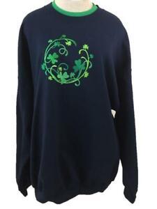 PFI Fashions sweatshirt size 3X blue green embroidered clover long sleeve