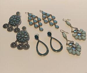 Lot Of 4 Blue Dangle Drop Chandelier Costume Earrings Pierced