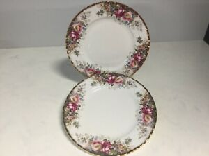 ROYAL ALBERT TWO ENTREE DINNER PLATES AUTUMN ROSES PATTERN