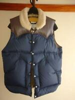Rocky Mountain Feather Bed Down Vest Navy Size 38 USED From Japan F/S