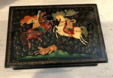 """Vintage Russian Lacquer Hinged Trinket Box Hand Painted & Signed 5"""" X 3.25"""""""