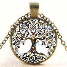 Vintage Living Tree des Lebens Glas Cabochon Bronze Mondstein Kette Anhänger