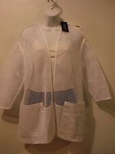 NWT Lafayette 148 Ursula Honeycomb Mesh Topper - White - Size Small