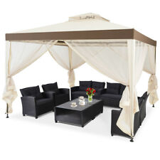 10'x 10' Canopy Gazebo Tent Shelter w/Mosquito Netting Outdoor Lawn Patio Beige