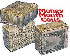 DOLLAR BILL MOUTH COILS 10 Money Pack Paper Streamer Magic Trick Clown Set Gag
