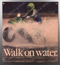 "VINTAGE KAWASAKI THREE 3 WHEELER ""WALK ON WATER"" BANNER"