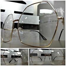 OVERSIZED VINTAGE RETRO Style Clear Lens EYE GLASSES Gold Hexagon Fashion Frame
