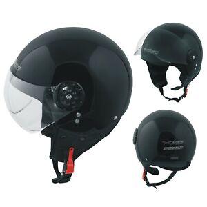 Jet Helmet Open Face Demi Motorbike Scooter Custom Avio Clear Visor Black XS