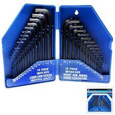 BlueSpot 30pc Metric & Imperial Hex Allen Key Long Set Kit Allan Alan Alen