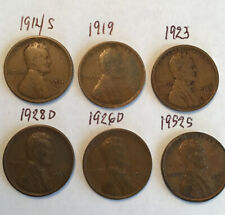 Lot (6)Us Lincoln Wheat Ears Km#132 Vg-Xf 1914S-1952S (C R Other Coins);Aloha