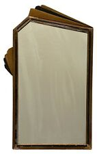 Art Deco Antique Hand Carved Wood Gold & Black Geometric Fan Wall Hanging Mirror