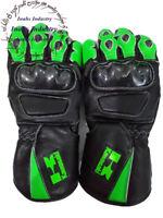 Kawasaki Top Quality Motorbike Original Leather Gloves full Protected