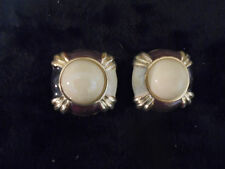 Vintage Costume Jewlery Earrings (Clip Ons ) Multi Color Acrylic w/Gold Trim