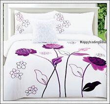 280TC White Dark Purple Flower Embroidered * 3pc QUEEN QUILT DOONA COVER SET