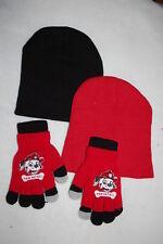 Boys Hat & Gloves Set Lot Red &Black Beanie Paw Patrol Fingerless Stretch Gloves