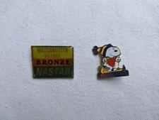 Massanutten Skiing Gold NASTAR badge and Snoopy  Massanutten lapel pins