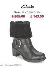 Clarks Pilico Place Black Leather Fur Lined Biker Ankle Boots UK 6D Ex Condition