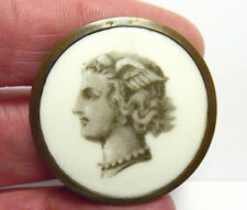 LATE 1700 EARLY 1800 BRASS ENAMEL BUTTON LARGE IMAGE OF MERCURY 30 MM