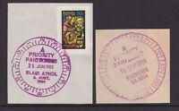 South Australia 2 x PRIORITY PAID timeclocks on piece 1985