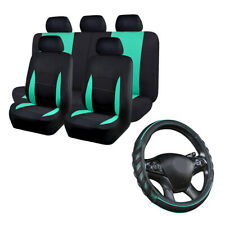 Universal Car Seat Covers Set Black Minit Green Car Steering Wheel Cover Leather